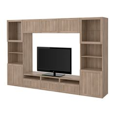 IKEA - BESTÅ, Combinazione TV/ante a vetro, Hanviken/Sindvik vetro effetto noce mordente grigio, guida cassetto/chiusura silenziosa, , Cassetti e ante si chiudono dolcemente e silenziosamente grazie alla chiusura ammortizzata.Questa combinazione TV ti offre tanto spazio, così è più facile tenere in ordine il soggiorno.È facile tenere i cavi della TV e degli altri apparecchi a portata di mano ma non in vista grazie alle apposite aperture sul pannello di fondo del mobile TV.I fori nella parte…