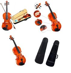 Natural Acoustic #Violin 4/4 Full Size Wood Color Fiddle with Case Bow Package