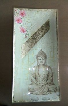 opposite decoupage with gold leaf and crackle medium-Budha plate.   Yoga meditation