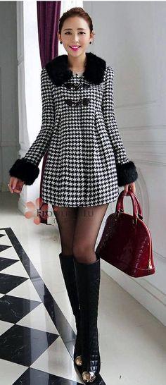 Elegant Front Buttons Black And White Faux Fur Long Coat