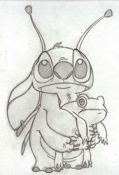 Stitch and his frog is part of Disney art drawings - I know the eyes look a little bit strange but you can't draw black eyes on a chalkboard Lilo and Stitch, Wald Disney Pictures, 2002 Done on the chal Stitch and his frog Disney Drawings Sketches, Disney Character Drawings, Cute Disney Drawings, Cool Art Drawings, Pencil Art Drawings, Animal Drawings, Drawing Sketches, Drawing Disney, Fantasy Characters