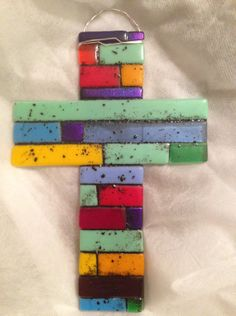 Fused Glass Cross in Monopoly Color Palette / (via etsy Fused Glass Jewelry, Fused Glass Art, Mosaic Glass, Projects For Kids, Class Projects, Glass Fusion Ideas, Glass Fusing Projects, Slumped Glass, Wine Bottle Candles