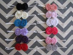 Cute little Chiffon Bows on a Headband OR Clip. Perfect Photo Prop on Etsy, $3.50