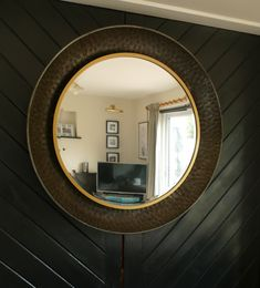 Rustic Feel, Hammered Metal, Stager, Wall, Light, Metal, Round, Mirror Wall, Mirror
