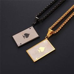 Ace Poker Square Necklace Two-tone Gold Plated / Stainless Steel Playing Cards Jewelry Stylish Jewelry, Luxury Jewelry, Fashion Jewelry, Goth Accessories, Mens Gold Bracelets, Packing Jewelry, Gold Chains For Men, Expensive Jewelry, Stainless Steel Jewelry