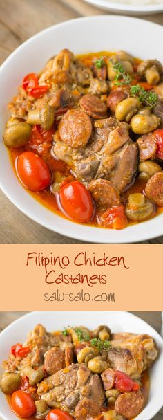 Chicken castanets - a Filipino stew consisting of chicken with chorizo, carrots, mushrooms, grape tomatoes and dried thyme.
