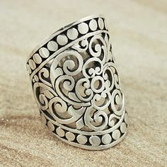 Sterling Silver Wide Cut-out Scroll with Bead Edge Ring (Indonesia) | Overstock.com Shopping - The Best Deals on Rings