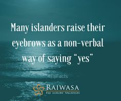 """Many islanders raise their eyebrows as a non-verbal way of saying """"yes""""."""