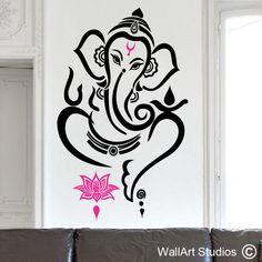 Ganesha wall art vinyl sticker - Hinda God wall art decal - Get more religious designs here! Ganesha Drawing, Ganesha Painting, Ganesha Art, Lord Ganesha, Wall Painting Decor, Mural Wall Art, Vinyl Wall Art, Mandala Design, Mandala Art