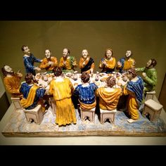 """""""The Last Supper"""",   Italy (Faenza),   16th century,   Tin-glazed earthenware (maiolica).     Composed of movable figures, the 'Last Supper' may have been a seasonal decoration, taken out and arranged during the week leading up to Easter Sunday.  Christ and the twelve apostles are seated around a table set with maiolica jugs, plates of food, and knives--forks were not yet customary at table.     --Museum of Fine Arts, Boston (photo taken 2012.10.07)"""