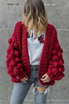 Oversized Chunky Thick Cable Knit Cardigan Sweater Obsessed with this womens chunky knit cardigan, nice red crochet sweaters open front baggy knitted sweater oversized cable loose sweater Womens Chunky Knit Cardigan, Cardigan Au Crochet, Cardigan En Maille, Oversized Knit Cardigan, Loose Sweater, Slouchy Cardigan, Cable Cardigan, Cardigan Pattern, Pull Crochet
