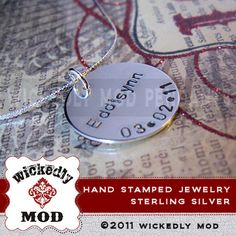 """7/8"""" sterling silver disc. $35"""