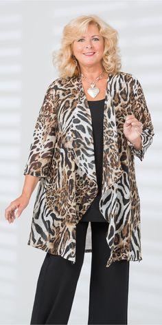 Kasbah brown/leopard voile waterfall jacket
