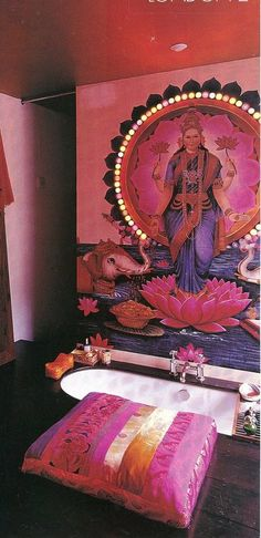 Love this bathroom. #boho #Bohemian #Bright #pink #style #elle #decor