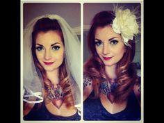 Vintage Wedding Hair: Pompadour with Veil & Flower by CHERRY DOLLFACE