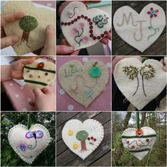 embroidered hearts