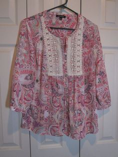 Notations 3/4 sleeve blouse pink, purple, mint floral  NWOT Size M Career #Bellatrix #Tunic #Career
