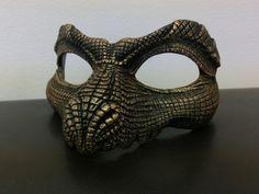 Black and Metallic Gold Reptile Mask by LisaSell on Etsy Dragon Face, Fire Dragon, Diy Masque, Cool Masks, Skull Mask, Leather Mask, Venetian Masks, Masks Art, Metallic Gold