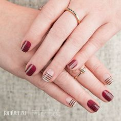 Classy Jamicure with gel polish and striped Jams