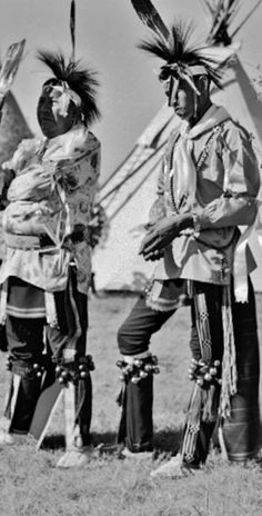 Lawrence Good Fox Sr. (Pawnee) and an unidentified man in dance clothes at the American Indian Exposition in Anadarko, Oklahoma - 1949