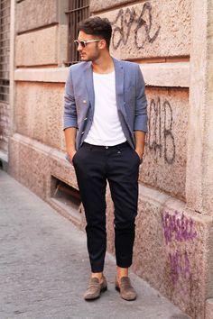 #style #outfit #look #men #blazer #white #shirt #pants #black #shoes