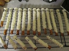 Mummies: pretzel rods dipped in white chocolate
