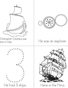 Columbus Day Mini Book beginning readers book that you print for kids Kindergarten Addition Worksheets, Kindergarten Social Studies, Kindergarten Activities, Classroom Activities, Classroom Ideas, Columbus Day, Columbus School, Preschool Lessons, Preschool Crafts
