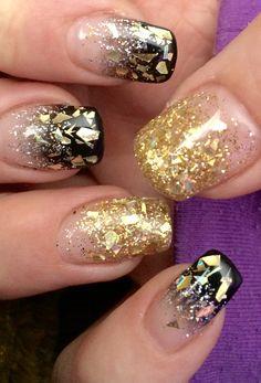 New Years Nails!! Black faded tip with diamond glitter skyline and gold Flecks! Happy NY 2015