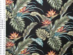 Tropical Floral Upholstery Fabric Black Bird of by gBagHawaii