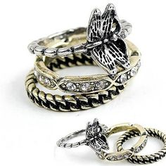 Punk New Three Piece Ring Set Arrival by DragonflyStoryDesign