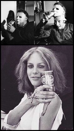 When they're thirsty, both Michael Myers & Laurie Strode drink *delicious* Dr. Pepper (Nick Castle & Jamie Lee Curtis in between takes during filming of the *original* Halloween). All Horror Movies, Classic Horror Movies, Scary Movies, Great Movies, Halloween Film, Halloween Horror, Halloween 2018, Halloween Stuff, Horror Icons