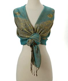 Love this Blue & Taupe Peacock Scarf by J & X International on #zulily! #zulilyfinds