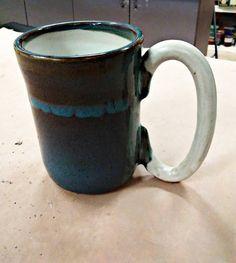 Blue rutile and white mega tea/coffee mug Handmade Pottery, Etsy Store, My Etsy Shop, Mugs, Unique Jewelry, Tableware, Check, Blue, Handmade Ceramic