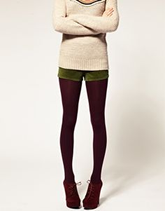 Purple tights, Green shorts