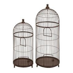 Woodland Imports 41386 Metal Decorative Bird Cage Set  Metal Decorative Bird Cage Set	Sizes: 16Dia x 42H, 13Dia x 32H	Powder-coated	$187.00