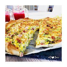 Tarte légère aux poireaux et jambon Coco, Pizza, Cheese, Cooking, Breakfast, Quiches, Bikini, Messages, Fruits And Veggies
