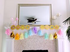 Pastel rainbow baby shower decor --added hints of gold