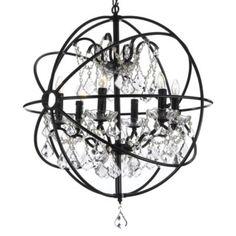 Gallery 6-Light Wrought Iron Crystal Orb Chandelier - BedBathandBeyond.com