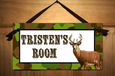 deer boys bedroom | Deer Camo Hunting Boys Bedroom Kids DOOR SIGN. $14.00, via Etsy.