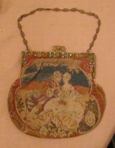Antique Handmade 1800 Ornate Victorian Needlepoint Bronze Stone Clutch Bag Purse | eBay