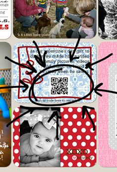 Create a QR code (for your own video) and print it on one of your journaling cards or photos for you Project Life album. Then when you scan the QR in your album, it will pull up the video associated with it on your smart phone.  BRILLIANT!!