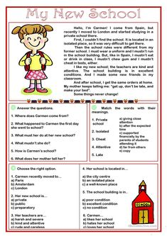 My New School -reading comprehension worksheet - Free ESL printable worksheets made by teachers The Effective Pictures We Offer You About Reading Comprehension grade A quality picture can tell you English Grammar For Kids, English Grammar Worksheets, English Lessons For Kids, English Reading, Free Reading Comprehension Worksheets, First Grade Reading Comprehension, Reading Response, Comprehension Strategies, Reading Skills