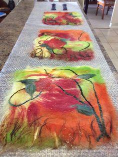 A free form work in progress- merino wool and silk