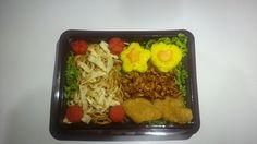 Nasi kuning + Kering tempe + Chicken nuggets + Mie goreng + Sosis goreng