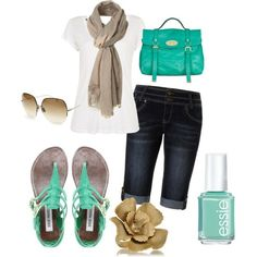 Love capris, turquoise, sandals, white tops, big bags,   wow