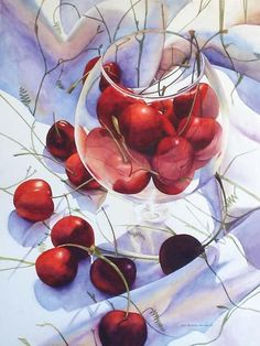 Chris Krupinski - Glass of Cherries watercolor: I love this. The way the cherries look in the glass. the delicate stems, the shadows, crispness. Definitely a feel good painting. Watercolor Fruit, Watercolour Painting, Watercolor Flowers, Painting & Drawing, Watercolors, Watercolor Pencils, Online Comics, Wow Art, Still Life Art