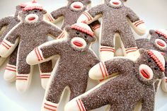 Platter 'O Sock Monkey Cookies via Sweet Sugar Belle Monkey Cookies, Cute Cookies, Sugar Cookies, Baby Cookies, Heart Cookies, Iced Cookies, Yummy Cookies, Cupcakes, Cupcake Cakes