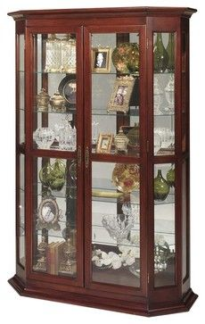 Hexagonal Front Display Curio Cabinet w Halog traditional-china-cabinets-and-hutches Wooden Sofa Designs, Wooden Door Design, Wooden Doors, China Cabinets And Hutches, Curio Cabinets, Glass Cabinets, Davis Furniture, Indian Living Rooms, Bed Frame With Storage