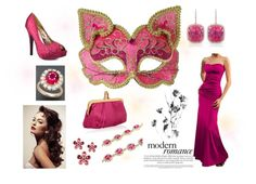 """Pink and Gold Cat Masquerade Evening Set"" by costumelicious on Polyvore. Inspired by our playful yet elegant gold and pink kitty cat mask! : 3    #Masquerade"