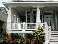 Our elegant square tapered porch columns are true to the craftsman style. Custom square tapered PVC porch column wraps built to any size, guaranteed for life. Curved Pergola, Pergola Curtains, Pergola Attached To House, Pergola Kits, Pergola Ideas, Front Porch Pillars, Front Porch Railings, Front Porch Design